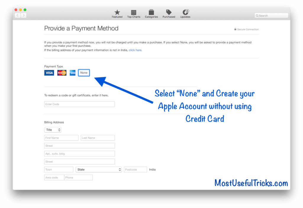 "Select ""None"" and Create your Apple Account without using Credit Card"