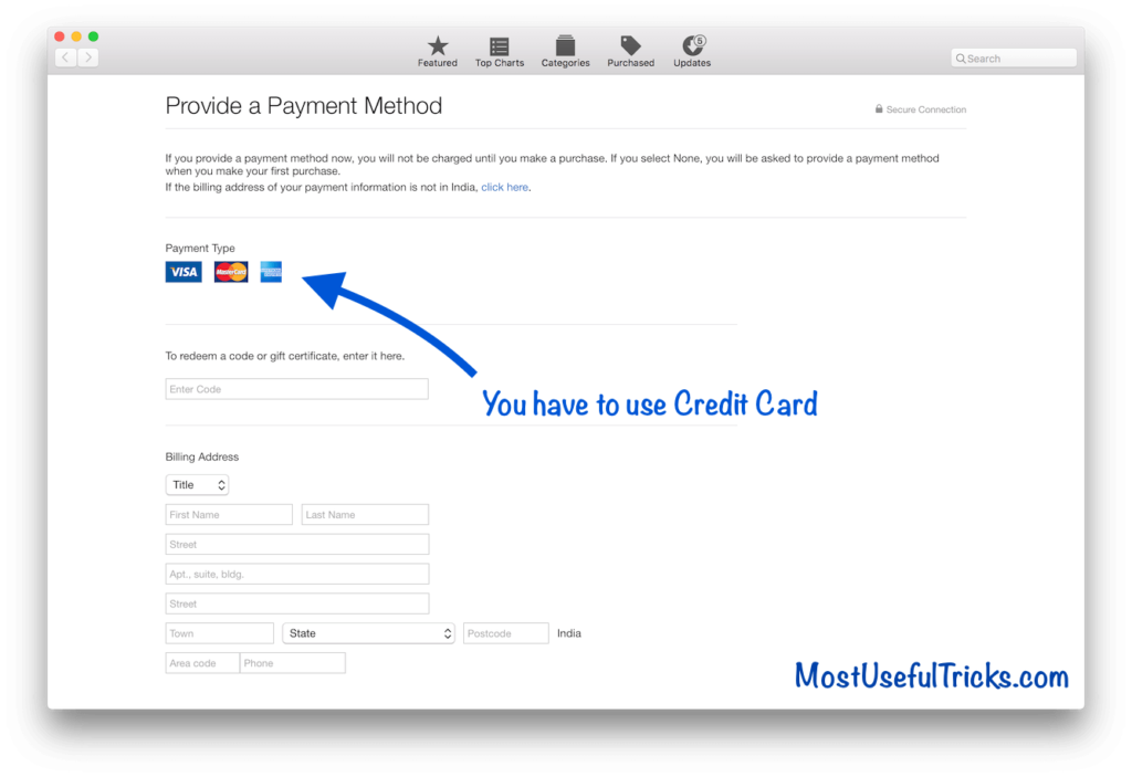 credit card for apple id account