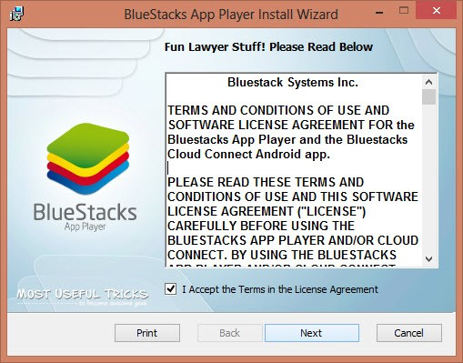 bluestacks installation window