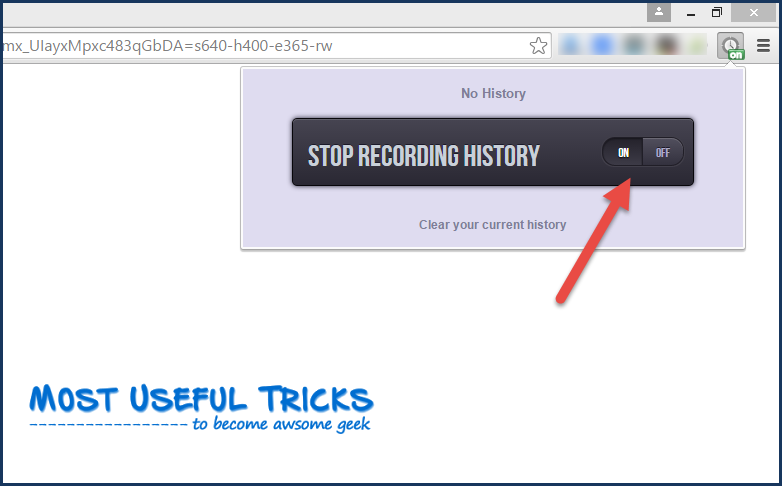 "turn ""Stop Recording History"" option off image"