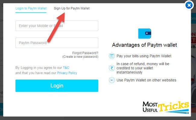 click on paytm sign up button