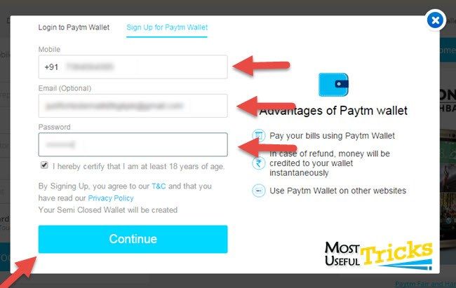 enter details and create your paytm account