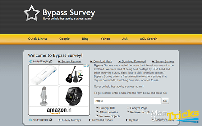 website to bypass surveys