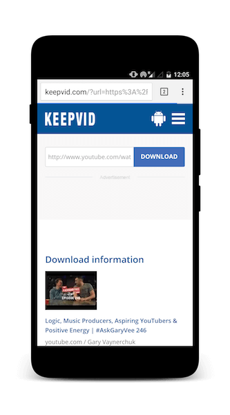 downloading youtube videos on android using keepvid.com