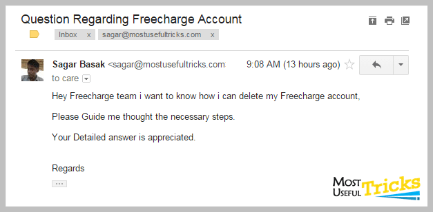 Deleting Freecharge Account