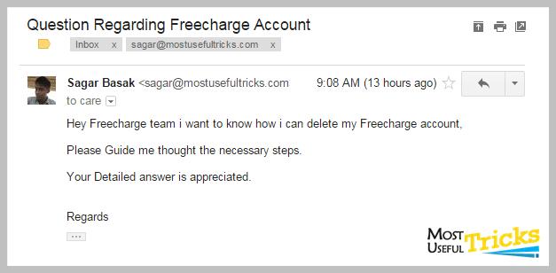 Deleting Freecharge Account