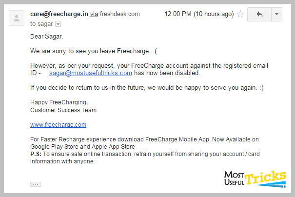 Deleting freecharge account 2