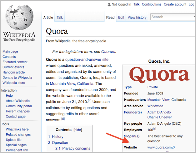Website on Wikipedia