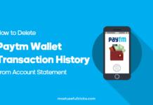 Delete Paytm Wallet Transaction History