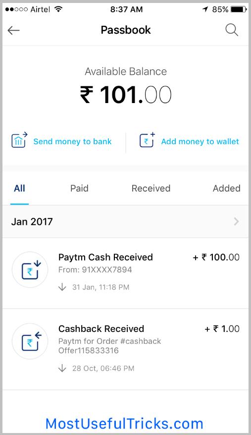 Paytm Wallet Statement