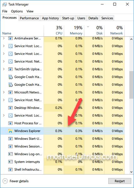 Restarting Windows Explorer