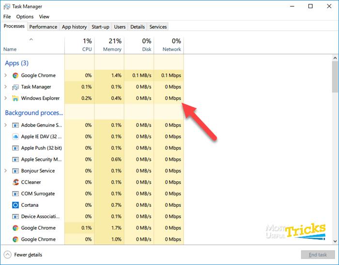 Windows Explorer in Windows 10 Task Manager