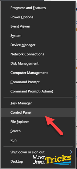 opening control panel from windows 10 context menu
