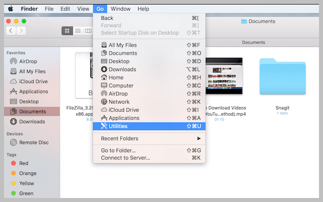 Open Utilities from Finder