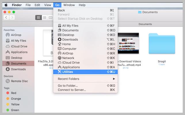 Open Utilities from Finder
