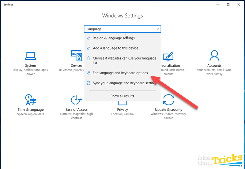 edit language and keyboard options