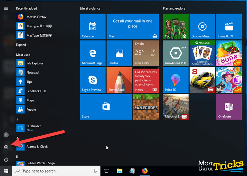 open settings on windows 10 PC