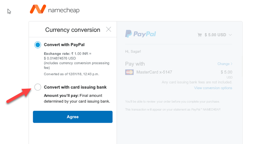 paypal convert with card issuing bank