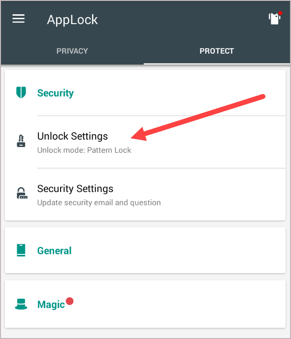 AppLock Unlock Settings