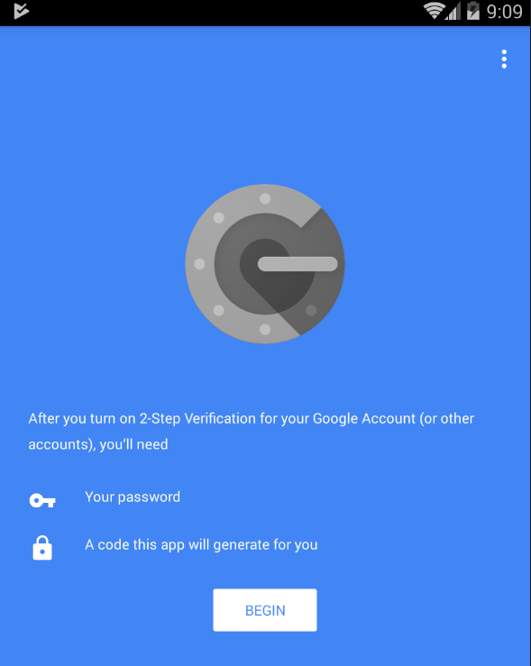 Open Google Authenticator