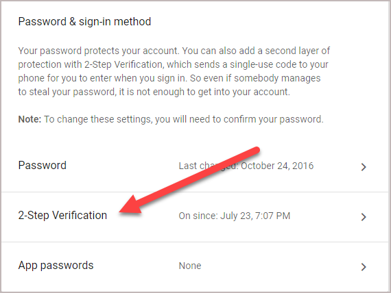 Password and Sign in Method