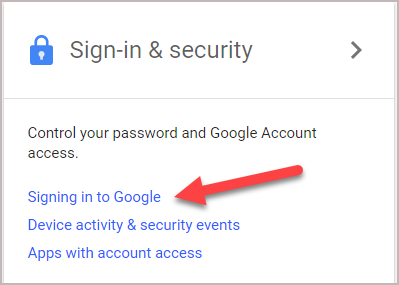 Sign in and security